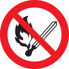 P02 Запрещается пользоваться открытым огнем и курить (на пластике)